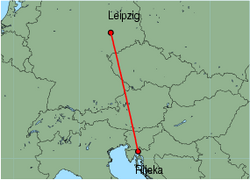 Map of route from Leipzig to Rijeka