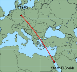 Map of route from Leipzig to Sharm El Sheikh