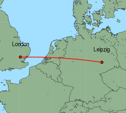 Map of route from London (Stansted) to Leipzig