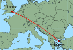 Map of route from London (Gatwick) to Lemnos
