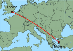 Map of route from London (Gatwick) to Mytilene