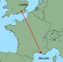Map of route from London(Gatwick) to Marseille