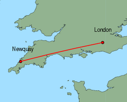 Map of route from London (Gatwick) to Newquay