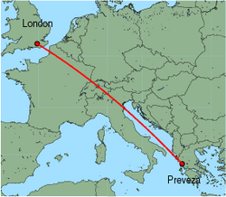 Map of route from London(Gatwick) to Preveza