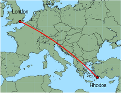 Map of route from London (Gatwick) to Rhodos