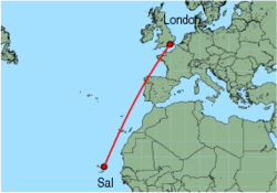 Map of route from Sal to London (Gatwick)
