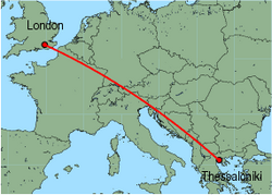 Map of route from London (Gatwick) to Thessaloniki