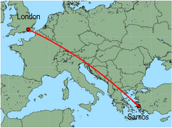 Map of route from London(Gatwick) to Samos