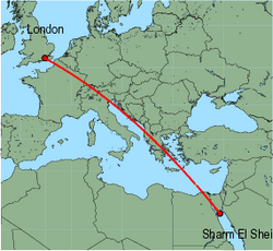 Map of route from London (Gatwick) to Sharm El Sheikh