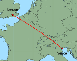 Map of route from London(Gatwick) to Venice(MarcoPolo)