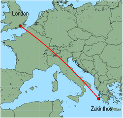 Map of route from London (Gatwick) to Zakinthos