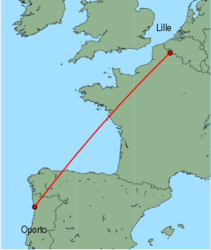 Map of route from Oporto to Lille