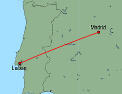 Map of route from Lisbon to Madrid
