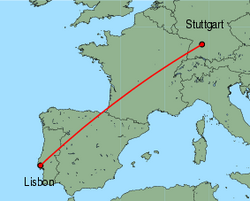 Map of route from Lisbon to Stuttgart