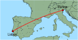 Map of route from Lisbon to Venice(MarcoPolo)
