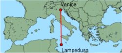 Map of route from Venice (Marco Polo) to Lampedusa