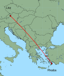 Map of route from Linz to Rhodos
