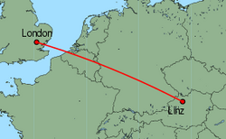 Map of route from London(Stansted) to Linz