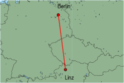 Map of route from Linz to Berlin(Tegel)