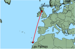 Map of route from Las Palmas to Glasgow (Prestwick)