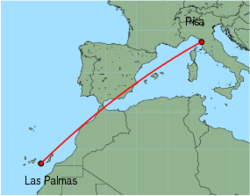 Map of route from Pisa to Las Palmas