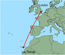 Map of route from Las Palmas to London (Stansted)