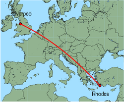 Map of route from Liverpool to Rhodos