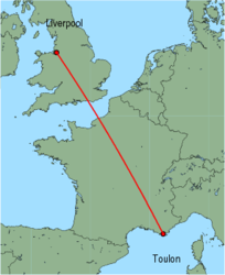Map of route from Toulon to Liverpool