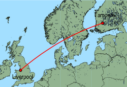 Map of route from Liverpool to Tampere