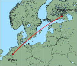 Map of route from Weeze to Lappeenranta