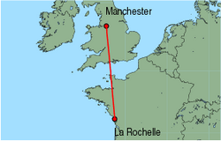 Map of route from La Rochelle to Manchester