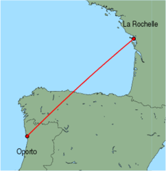 Map of route from Oporto to La Rochelle