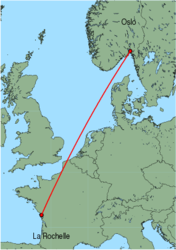 Map of route from Oslo(Rygge) to LaRochelle