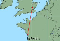 Map of route from London(Stansted) to LaRochelle