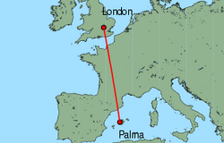 Map of route from Palma to London (Luton)