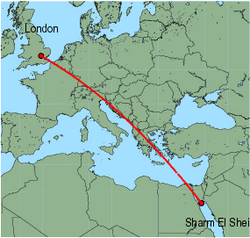 Map of route from London (Luton) to Sharm El Sheikh