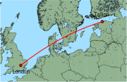 Map of route from London (Luton) to Tallinn