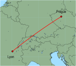 Map of route from Lyon to Prague