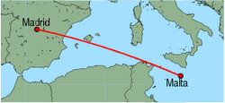 Map of route from Malta to Madrid