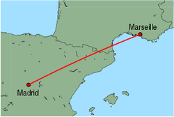 Map of route from Madrid to Marseille