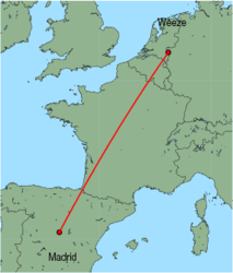 Map of route from Madrid to Weeze
