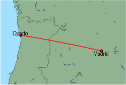 Map of route from Oporto to Madrid