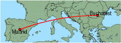 Map of route from Madrid to Bucharest(Otopeni)
