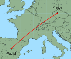 Map of route from Prague to Madrid