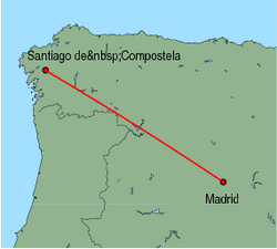 Map of route from Santiago de Compostela to Madrid