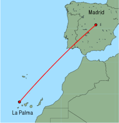 Map of route from La Palma to Madrid