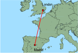 Map of route from Madrid to London(Stansted)