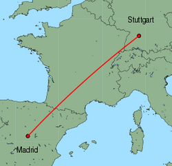 Map of route from Stuttgart to Madrid