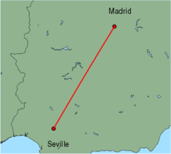 Map of route from Seville to Madrid