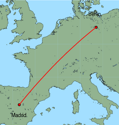 Map of route from Berlin(Schoenefeld) to Madrid
